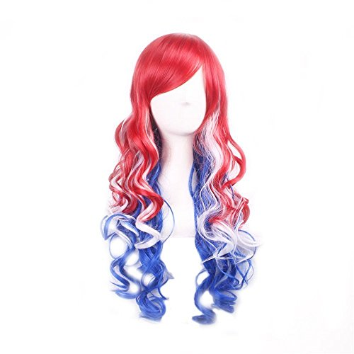 Invisible Blue Skin Suit Child Costumes (S_SSOY Women's Red Blue White Gradients Long Wavy Ombre Wig Anime Harajuku Universal Synthetic Spiral Hair Wigs Hairpiece for Girl Lady Women Halloween Cosply Costume Party Daily Use)