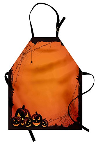 Ambesonne Halloween Apron, Grunge Spider Web Jack O Lanterns Horror Time of Year Trick Or Treat Print, Unisex Kitchen Bib with Adjustable Neck for Cooking Gardening, Adult Size, Seal Brown -