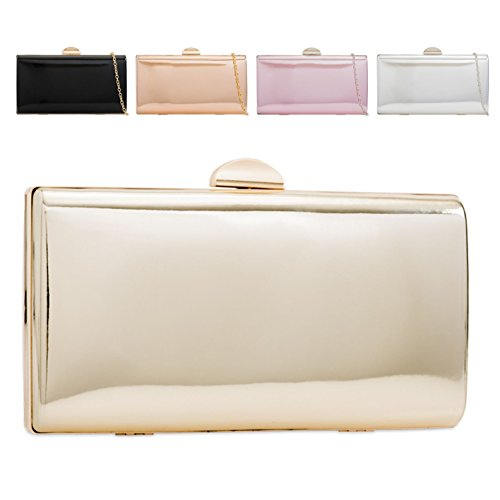 Handbag KZ2277 Champagne Women's Hard Patent Box Compact Clutch Metallic Bag Evening Ladies 1AqBzz