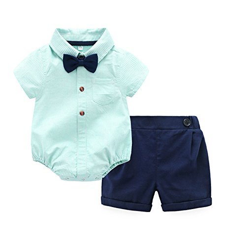 Tem Doger Baby Boys Casual Suit Cotton Short Sleeve Striped Button Down Bowtie Shirt Short Pant Clothes Set Outfit (70/0-6 Months) Green -