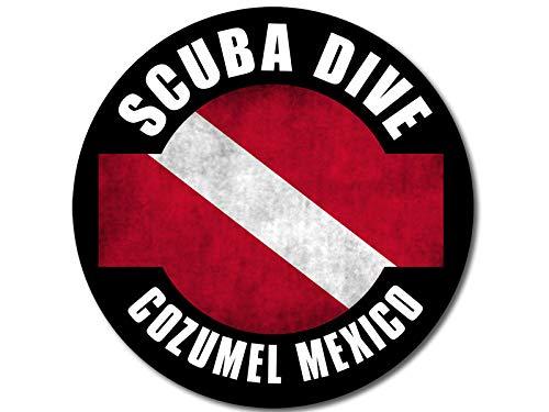 American Vinyl Round Distressed Scuba Dive Cozumel Mexico Sticker (Decal Diving Diver) (Dive Cozumel)