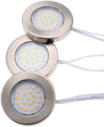 Lumien LED Under Cabinet Lighting Kit 1050 Lumens, Slim Design, Diameter 2.37 inches Thickness 0.31 inches. 3 Puck Lights with Decorative Brushed Nickel Covers, Dimmable, Warm White 3000 K, CRI 90.