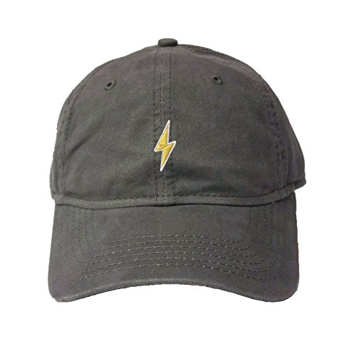 Adjustable Charcoal Adult Lightning Bolt Embroidered Deluxe Dad Hat