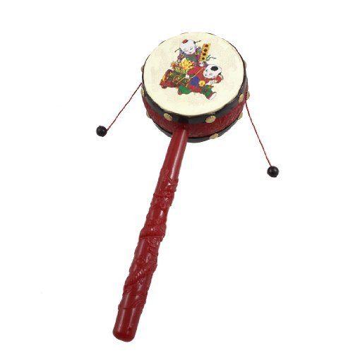 Como Red Black Plastic Chinese Traditional Rattle Drum Spin Toy for Baby