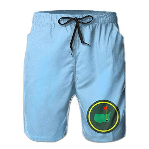 Men's Swim Trunks Quick Dry Green Jacket Patch Surfing Beach Board Shorts with Side - Golf Masters Augusta National Club