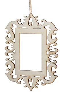 package of 12 beautiful unfinished wooden ornament frames with laser cut design