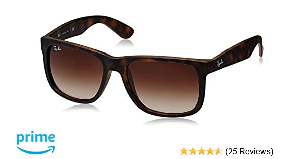 Amazon.com  Ray-Ban RB4165 Justin Sunglasses, Rubber Light Havana Poly Brown  Gradient, 55mm  Ray-Ban  Clothing a59a570b8e