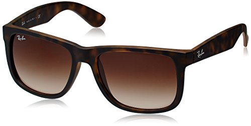 Ray-Ban RB4165 Justin Sunglasses, Rubber Light Havana/Poly Brown Gradient, - 54 Rb4165