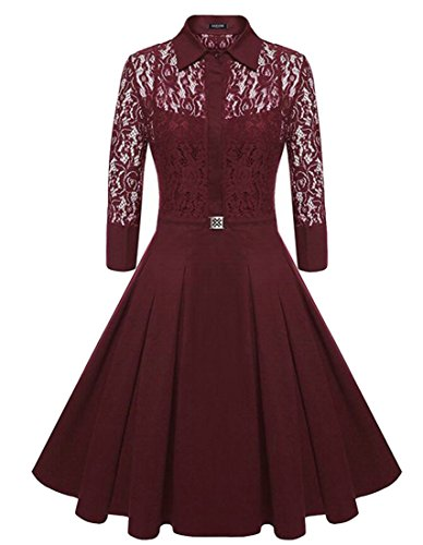 Lace Through Solid Midi See Party Red Womens Dress Domple Wine Flared Color FZqtSw