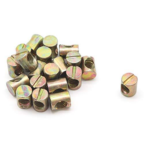 binifiMux 20-Pack M8 x 15mm Barrel Nuts for Furniture Beds Crib Chairs, Zinc Plated (10pcs M8 Barrel Bolts)