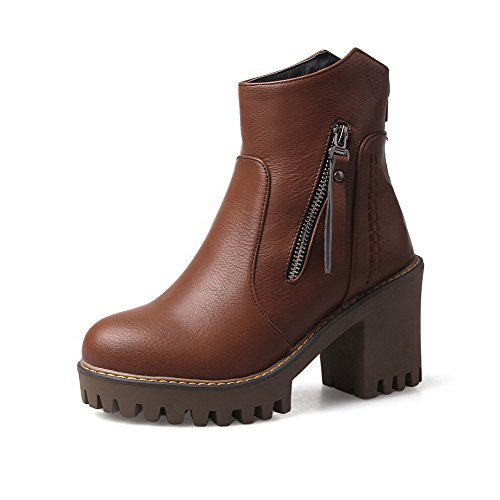 AllhqFashion Womens Soft Material Round Closed Toe Solid Low-Top High-Heels Boots, Brown, 37