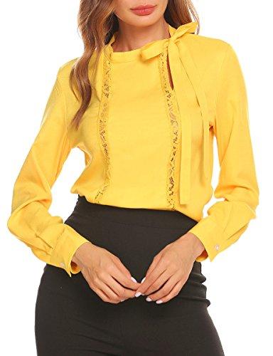 SE MIU Womens Tie Bow Neck Long Sleeve Lace Front Chiffon Shirt Blouse - Size Chart Miu Miu