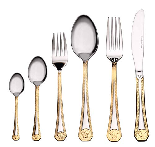 - Venezia Collection 'Greek' 75-Piece Fine Flatware Set, Silverware Cutlery Dining Service for 12, Premium 18/10 Surgical Stainless Steel, 24K Gold-Plated Hostess Serving Set