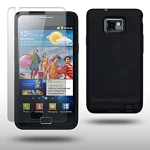 SAMSUNG i9100 GALAXY S II SILICONE SKIN WITH SCREEN PROTECTOR BY CELLAPOD CASES BLACK
