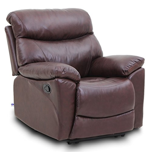 VH FURNITURE Top Grain Leather Reclining Sofa 1 seat Traditional and Classical Type in Brown - Top Leather Chair