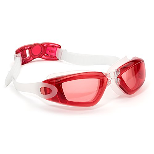 Aquarena Swim Goggle with Clear Lens, Adjustable Strap and Case, Red