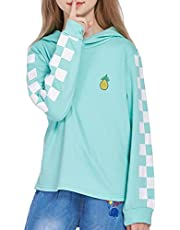 Leaduty Girls Fashion Pullover Hoodies Kids Sweatshirts Cute Loose Casual Printed Tops for Teens with Plaid Long Sleeves