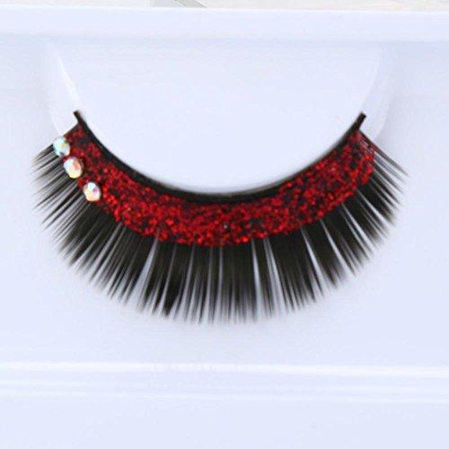 False Lashes,Rosiest Fashion Women Soft Simulation Rhinestones Stage Fake Eyelashes (Red)