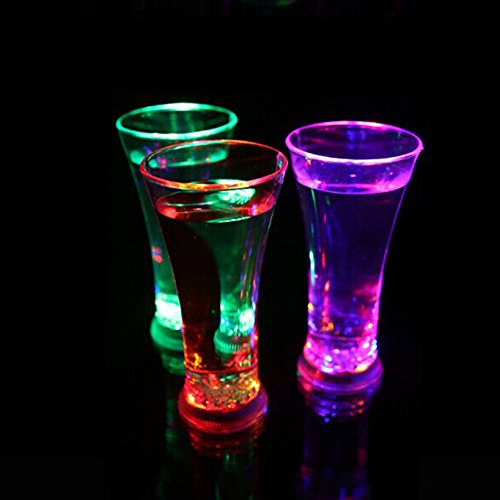 discoGoods 14oz LED Luminous Juice Glass Cup Colorful Light Charged Flashing Light Beer Mug Coke-Cola Drink Cup for Party Club Bar Decorative or as Birthday Wedding Valentine Gift (3)