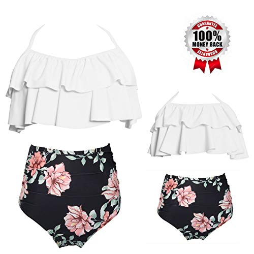 Girls Swimsuits for Women High Waisted Bathing Suit Family Matching Swimsuit Mommy and Daughter Swimwear Bikini Sets (5-6 Years, White)