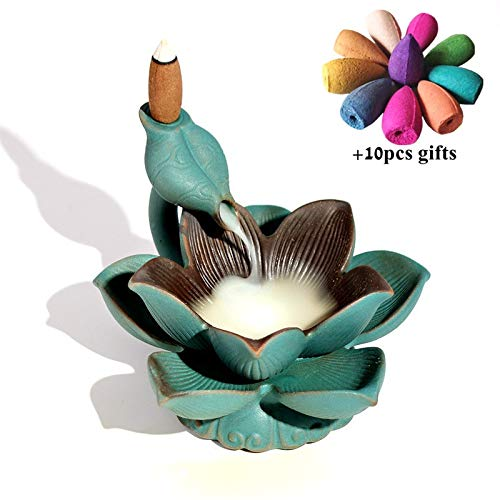 THE NEON LIGHT LED Lotus Incense Burner Backflow Incense Holder Aroma Smoke Waterfall Fountain Censer Home Decor + 10pcs Incense Cones