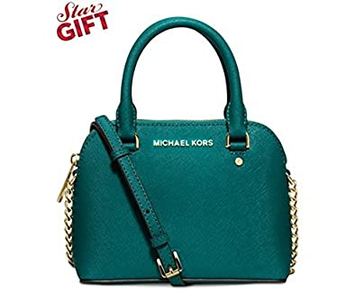 36fd1ec0f679 Michael Kors Cindy Mini Crossbody Teal Blue Green Leather Bag Handbag Purse:  Handbags: Amazon.com