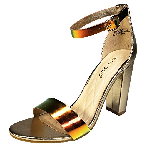 (BAMBOO Women's Single Band Chunky Heel Sandal with Ankle Strap, Multi-Color Mermaid Mirror PU, 10.0 B)