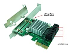 Specification * Connector:  - 4 x SATA (7 pin; DATA) Female  - PCI Express x2 Male * Chipset: MARVELL 88SE9230 * Software:  - No driver installation is required on Windows 10/8/7/Vista, Server 2012/2008, Linux, Mac OS X 10.x and later...