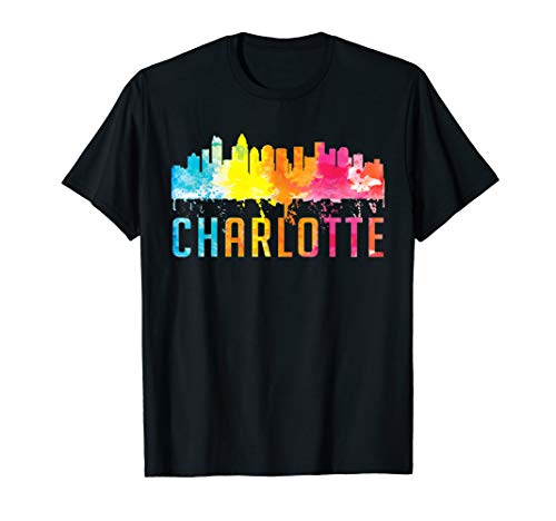 Charlotte North Carolina Watercolor Skyline Souvenir Shirt T-Shirt (Charlotte, North Carolina, Fashion)