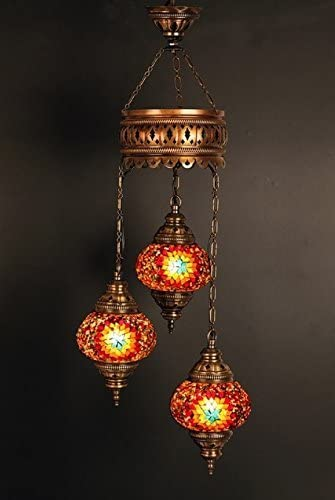 Mosaic Glass Hanging Turkish Chandelier Light Lamp