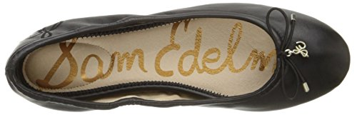 Edelman Sam Felicia Black Women's Ballet Flats Leather UqfqwRFd8