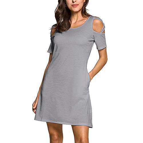ENIDMIL Womens Casual Cold Shoulder T-Shirt Dresses Strappy Short Sleeve Tunic Dress with Pockets (Gray,S)