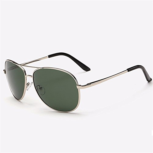 (Men sunglasses/sunglasses/men driving driving mirror/driver glasses/polarized yurt/tide,Silver frame ink green sheet)