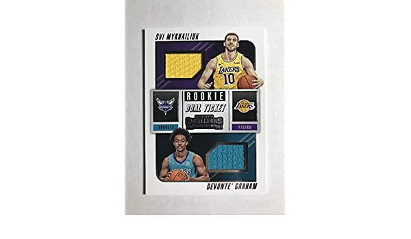 c0fadc28e054 Amazon.com  2018-19 Panini Contenders Rookie Ticket Dual Swatches Basketball  Devonte  Graham Svi Mykhailiuk Jersey Relic Charlotte H Official NBA Card  From ...