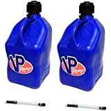 2 Pack VP 5 Gallon Square Blue Racing Utility Jugs with 2 Deluxe Filler Hoses