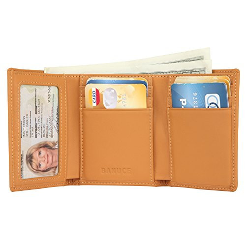 Banuce Women's Full Grains Genuine Leather Slim Small Item Trifold Wallet Color Light Brown by Banuce (Image #2)