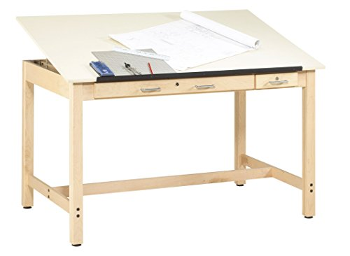 Diversified Woodcrafts IDT-102 Instructors Art and Drafting Table with Dovetailed Drawers and Plastic Laminate Top, 60