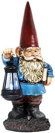 Ebros Gift Whimsical Enchanter Gnome Holding Book of Spells Statue 17.25″ H Solar Path LED Light Garden Greeter Figurine Home Decorative Patio Figurine Courtesy Light