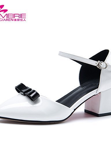 Gray Heel ShangYi Leather MeiRie'S Women's Sandals Toe Chunky Casual Pink Heels White Pointed Shoes White Toe Patent Closed AYAaqwr