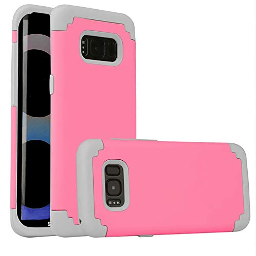 (Compatible: Phone case fits for Galaxy S8 (2017) Cell Phone,Heave Duty,Slim Fit Soft Silicone & Hard Back Cover, Giving a Reasonable Amount of Drop Protection for Your Smart Phone.Pink)
