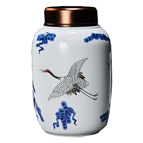 Funeral Urns Wild Crane Keepsake Urn for Human or pet Ashes Hand-Carved Ceramics Sealed Cremation Urns (Color : -