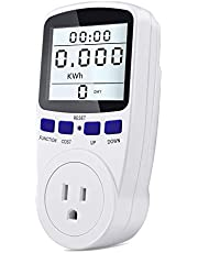 Kuman Electricity Usage Monitor Plug Power Meter Energy Watt Voltage Amps Meter with White Backlight Digital LCD Display, Overload Protection and 7 Display Modes for Energy Saving KW48