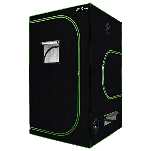 LIVINGbasics 48″x48″x80″ Hydroponic Grow Tent with Obeservation Window and Floor Tray for Indoor Plant Growing