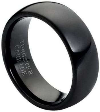 CloseoutWarehouse High Polished Black Enamel Plated Domed Tungsten Carbide Ring