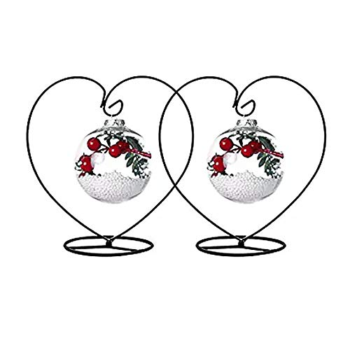 Archi 2 Pack Heart-Shaped Ornament Display Stand Iron Pothook Stand for Hanging Glass Terrarium (Heart)