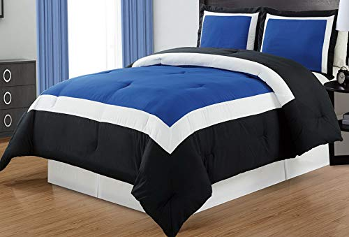 Hemau Premium New Soft 3 Piece Navy Blue/Black/White Goose Down Alternative Color Block Comforter Set, Queen Size Microfiber Bedding, Includes 1 Comforter and 2 Sha | Style -