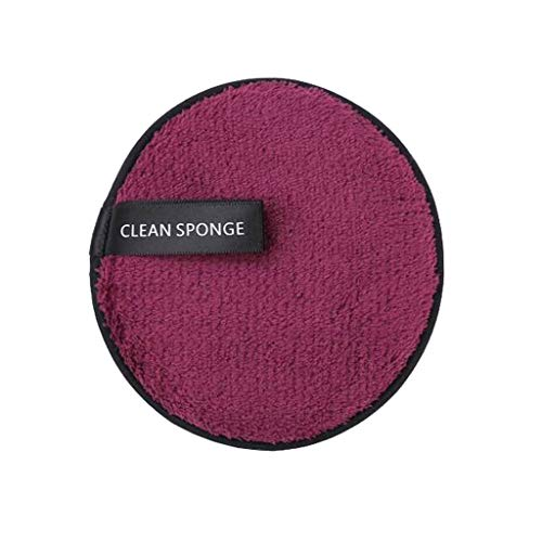 - Makeup Remover Towel Face Cleansing Cloth Pads Plush Puff Fashion New, Magic Beauty Clear Water Lazy Makeup Removal Powder Puff Double-Sided (Purple)