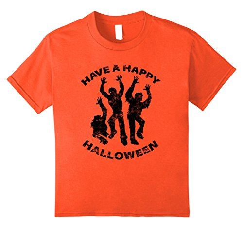 Kids Funny Zombie T-Shirt Orange Halloween Shirt Letter Print Tee 10 Orange