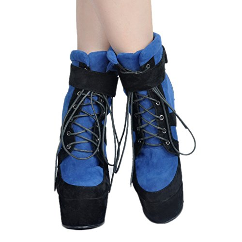 Patchwork Lace Kid Handmade Womens suede Ankle Fashion Wadge Boots Party Black Heel Shoes up Kolnoo dxavwUqW88