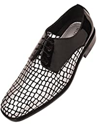 Mens Metallic & Patent and Croco Printed Exotic Formal Oxford Dress Shoes Duncan